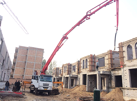 Concrete Boom Pump Is Working